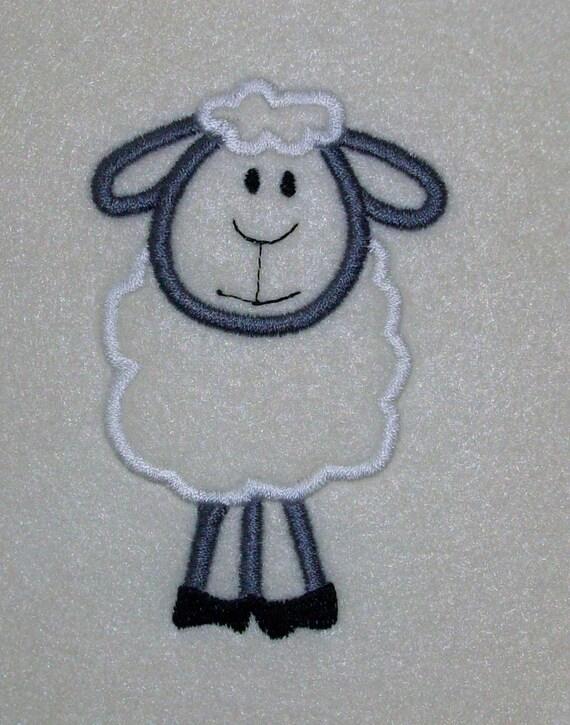 Lamb Embroidery Machine Applique Design 202 Instant Download
