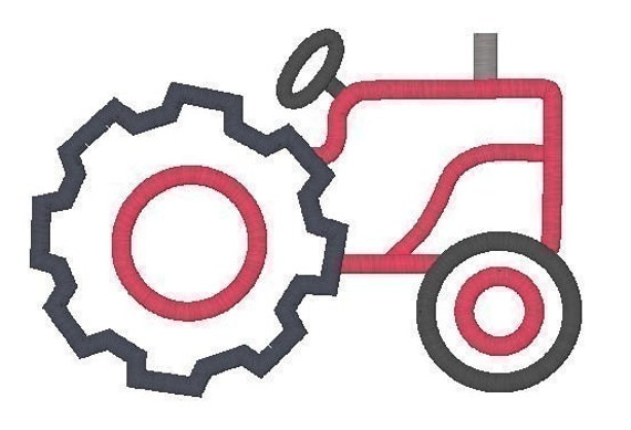 Farm tractor embroidery machine applique design