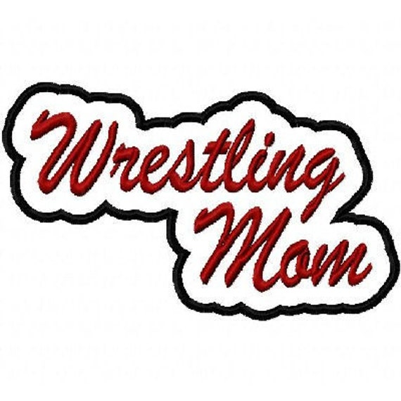 Wrestling Mom Script Embroidery Design with a Shadow Applique 2463