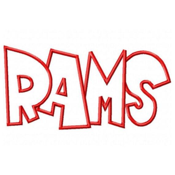 Rams Embroidery Machine Applique Design 2597
