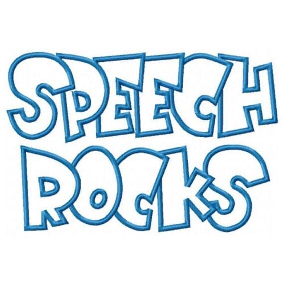 Speech Rocks Embroidery Machine Applique Design 2623