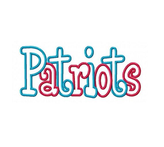 Patriots 2 color Embroidery Machine Applique Design 2669