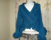 Knit and crochet navy blue girl shrug size 6 or 7/ fashion fall, clothing,ready to ship