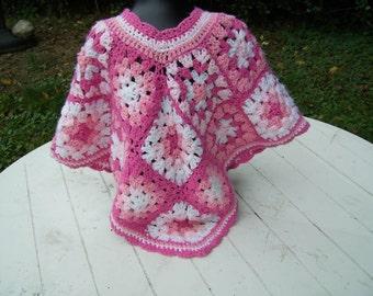 Retro Style Poncho Crochet Girls Pink Poncho in Granny Squares Vintage Style Girls Clothing