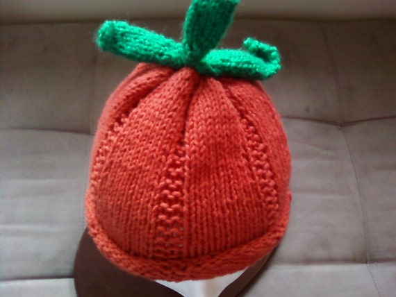 Pumpkin Hat,Knit Pumpkin Hat, Thanksgiving Hat, Baby Hat, Fall Hat,  Photo Prop Hat