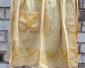 Vintage Apron-Yellow and White, Checkered, Antique, Embroidered Butterfly, Half Arpon