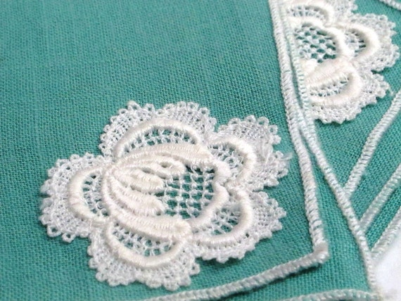 Antique Handkerchief-Turqoise/Flower/Napkin/Vintage