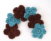 """Mini Crochet Flowers - Set of 6 in Coffee (3) and Teal (3) - 1.25"""" Five Petals"""