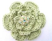 Women's lime green decorative flower clip accessory