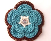 Crochet flower hair clip - Teal Woods - Girls Back to School Accessory