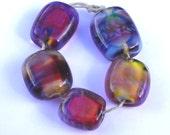 Lampwork glass beads Silver glass bead set SRA P97