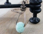 baby blue sparkle bead wire wrapped pendant sterling silver