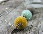 autumn fall color necklace mustard yellow, baby blue and dolphin gray