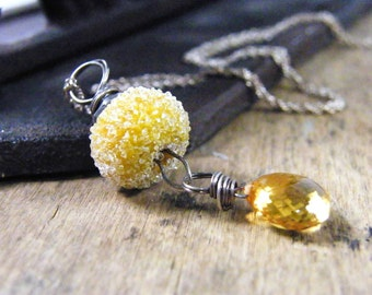 long necklace mustard yellow and golden yellow citrine wire wrapped pendant sterling silver
