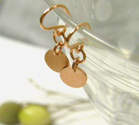 earrings, rose gold tiny rounds dangle sterling silver 24 kt brushed finish