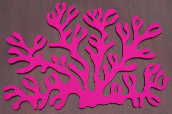 Antler Coral Placemat Wool Felt 5mm 1 Set of 4- Magenta