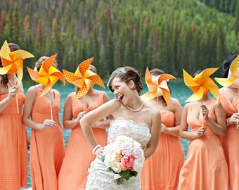 Custom Pinwheel Wedding Bouquet Set of 3 by Rule42