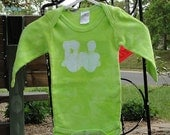 Baby Bodysuit: Green with Batik Train (3 months) READY TO SHIP
