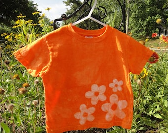 Girls Flower Shirt, Flower Girls Shirt, Kids Flower Shirt, Orange Flower Shirt, Boys Flower Shirt, Orange Flower Girl Shirt (3T)