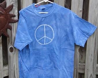 Blue Peace Sign Shirt, Adult Peace Sign Shirt. Mens Peace Sign Shirt, Womens Peace Sign Shirt, Batik Peace Shirt (L) SALE