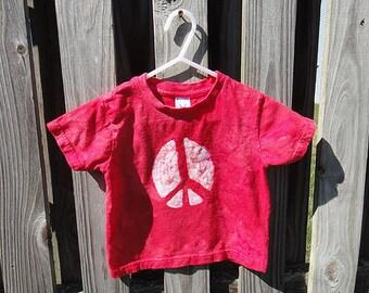 Kids Peace Shirt, Red Peace Shirt, Girls Peace Shirt, Boys Peace Shirt, Batik Peace Shirt, Red Kids Peace Shirt, Peace Sign Shirt (2T) SALE