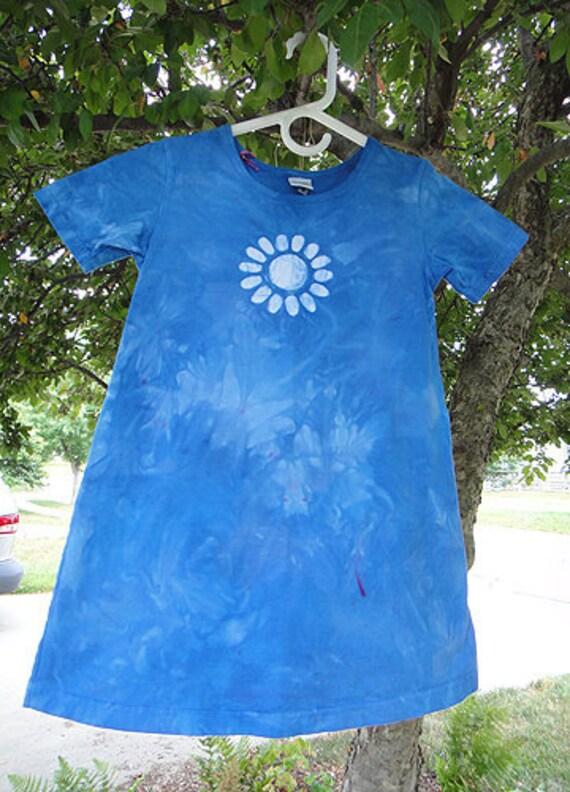 Girls Dress: Blue with Batik Flower, Short Sleeves (6) READY TO SHIP