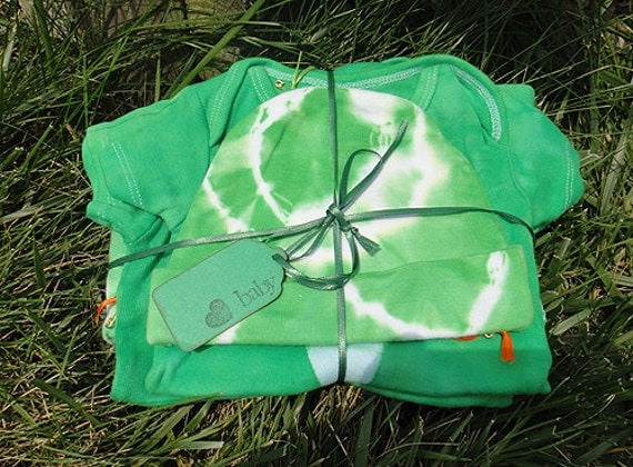 Baby Shower Gift Set: Green with Batik Airplane and Helicopter