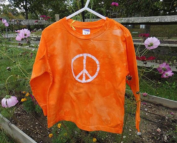 Kids T-Shirt: Orange with Batik Peace Sign, Long Sleeves (5/6) READY TO SHIP