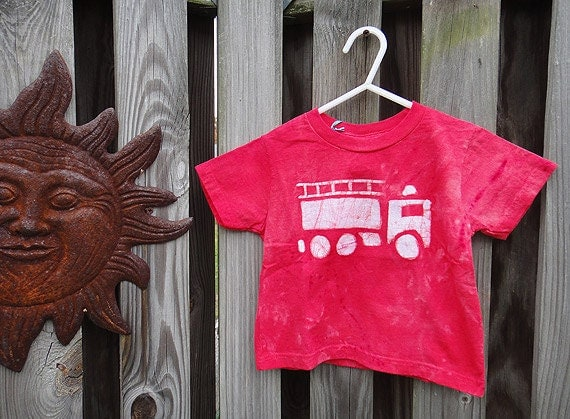 Toddler T-Shirt: Red with Batik Fire Engine, Short Sleeves (3T) Ready to ship