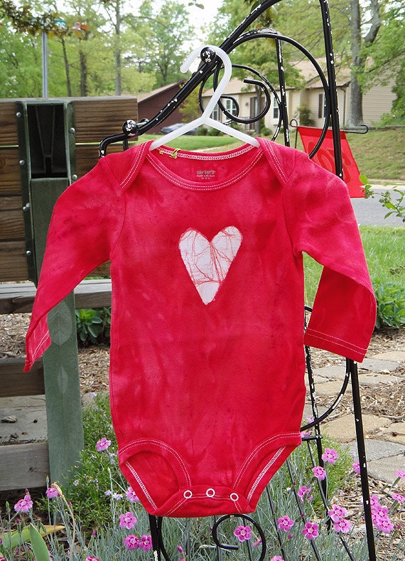 Baby Bodysuit: Red with Batik Heart, Long Sleeves (9 months) Ready to Ship
