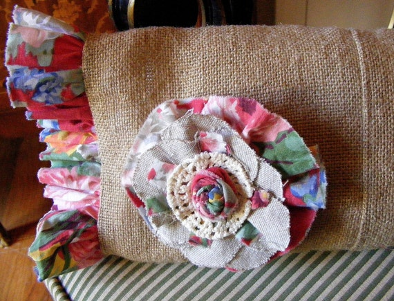 Burlap Ruffled Pillow With Flower
