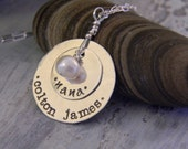 grandmother  necklace - personalized mothers necklace -  hand stamped name -  nana - custom necklace with grandchildren names
