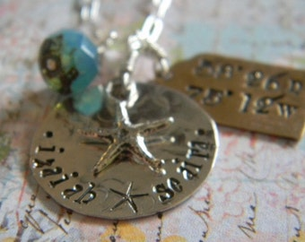 personalized family hand stamped starfish latitude and longitude home is where the heart is...