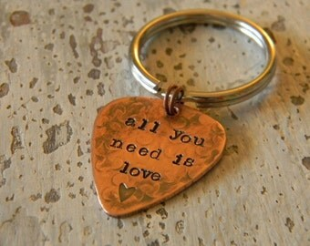 hand stamped guitar pick key chain, gift for men
