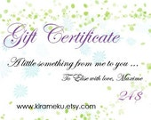 Gift Certificate of 24 dollars for Handmade Funky Jewlery