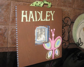 Butterfly,  hand painted picture frame, personalized