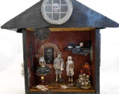 Haunted House Shadow Box - Creepy Kids - Gothic Art