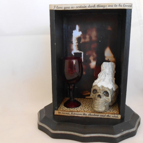 Gothic Shadow Box - Skull - Mixed Media Art - Gothic Home Decor