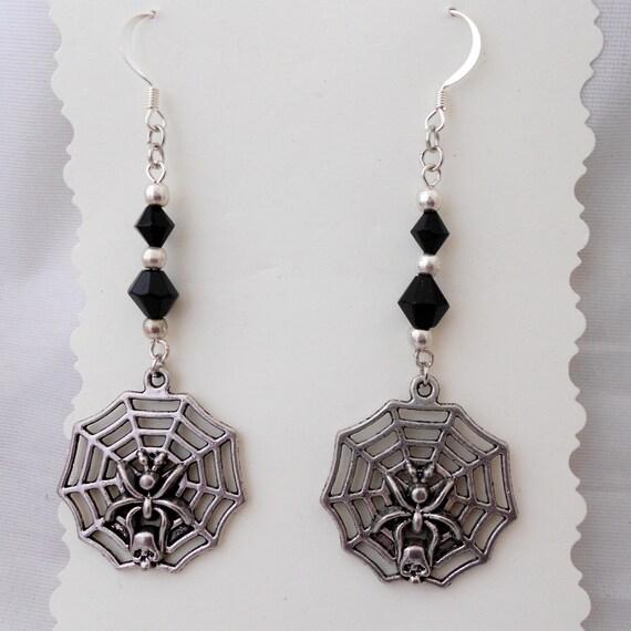 Gothic Jewelry - Spider Web Earrings - Dangle Earrings