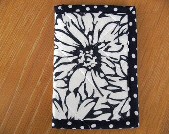 Quilted Passport Cover / Wallet in Crisp White and Navy Summertime Take Me Away