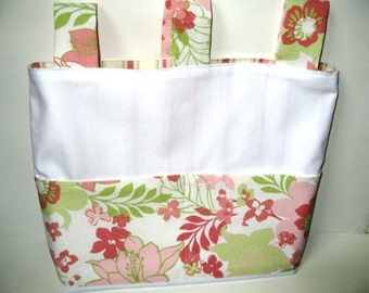Organizer Bag for Stroller or Walker in Tropical Florals of Pinks and Greens