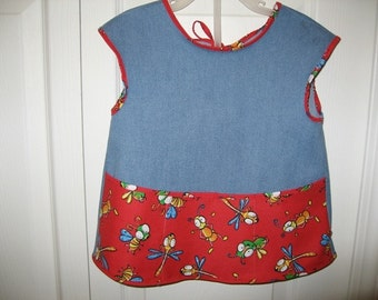 Child's Apron / Bib / Art Smock in Denim with crazy Bugs  Bright and Playful