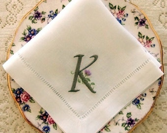Monogrammed Linen Napkins, Tea Napkins, Set of 8, Customized Monogram: Cottage Roses or Elegant or Modern