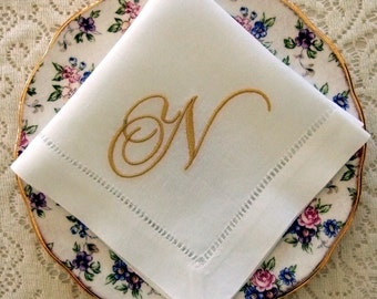 Monogrammed Linen Napkins, Tea Napkins,  Set of 6, Choose your Monogram: Cottage Roses or Elegant or Modern