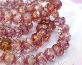 Rose Petals - Czech glass faceted donut beads - 6X4mm - 10pcs