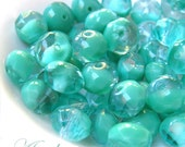 Peppermints - Czech glass faceted donut beads - 8X6mm - 10pcs