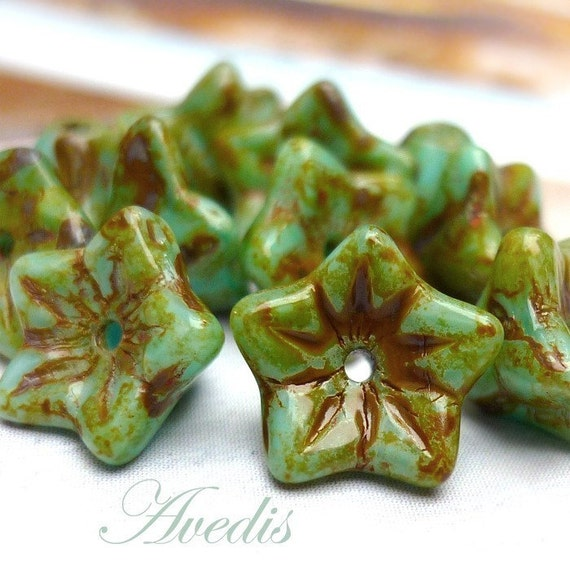Turquoise picasso - Czech glass beads - petaled flower - 6X5mm - 12pcs