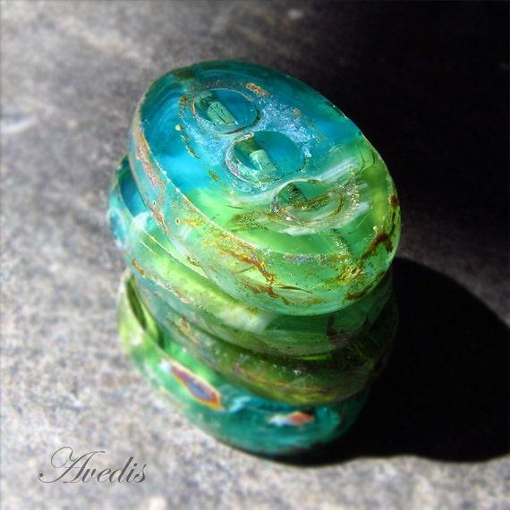 Sea dream . Czech glass beads . patterned flat ovals . 18 X 12mm . 5pcs NEW
