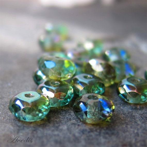 Celsian - Czech glass beads -faceted donut - 7X5mm - 20pcs