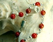 Red Coral Bracelet and Earrings